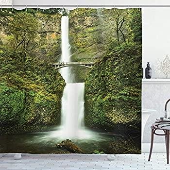 Ambesonne Hobbits Shower Curtain, Falls of Rivendell Multnomah Waterfall Oregon with Hobbit Elf Path Bridge Scene Image, Cloth Fabric Bathroom Decor Set with Hooks, 75