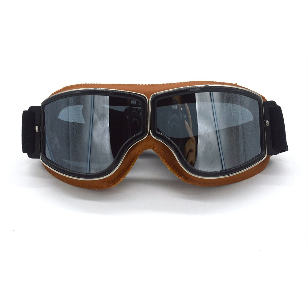 evomosa Leather Sports Vintage Aviator Pilot Style Motorcycle Cruiser Scooter ATV Off-Road Helmet Goggles