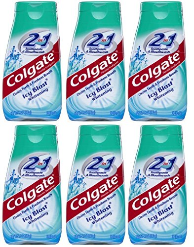 Colgate 2-in-1 Toothpaste & Mouthwash, Whitening Icy Blast, 4.6-Ounce Tubes (Pack of 6) (Tube Whitening)
