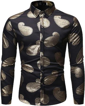 LISILI Camisas para Hombre Paseo Brillante Metálico Cobre Dorado Impresión Ajustado Manga Larga Abotonar Camisa De Vestir Tops,Negro,XL: Amazon.es: Hogar