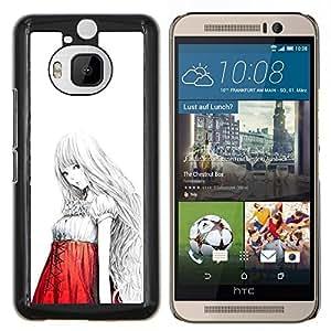 LECELL--Funda protectora / Cubierta / Piel For HTC One M9Plus M9+ M9 Plus -- Chica japonesa asiática Anime Arte Rojo Blanco --