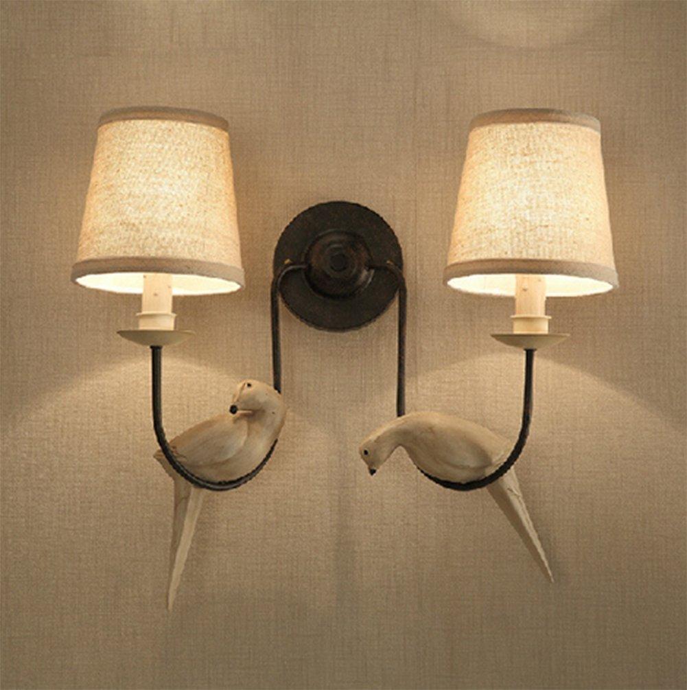 Lampada Da Parete A Doppia Testa Uccello,Villaggio Retro Lampada Da Parete Ferro Creativa Illuminazione Decorativa