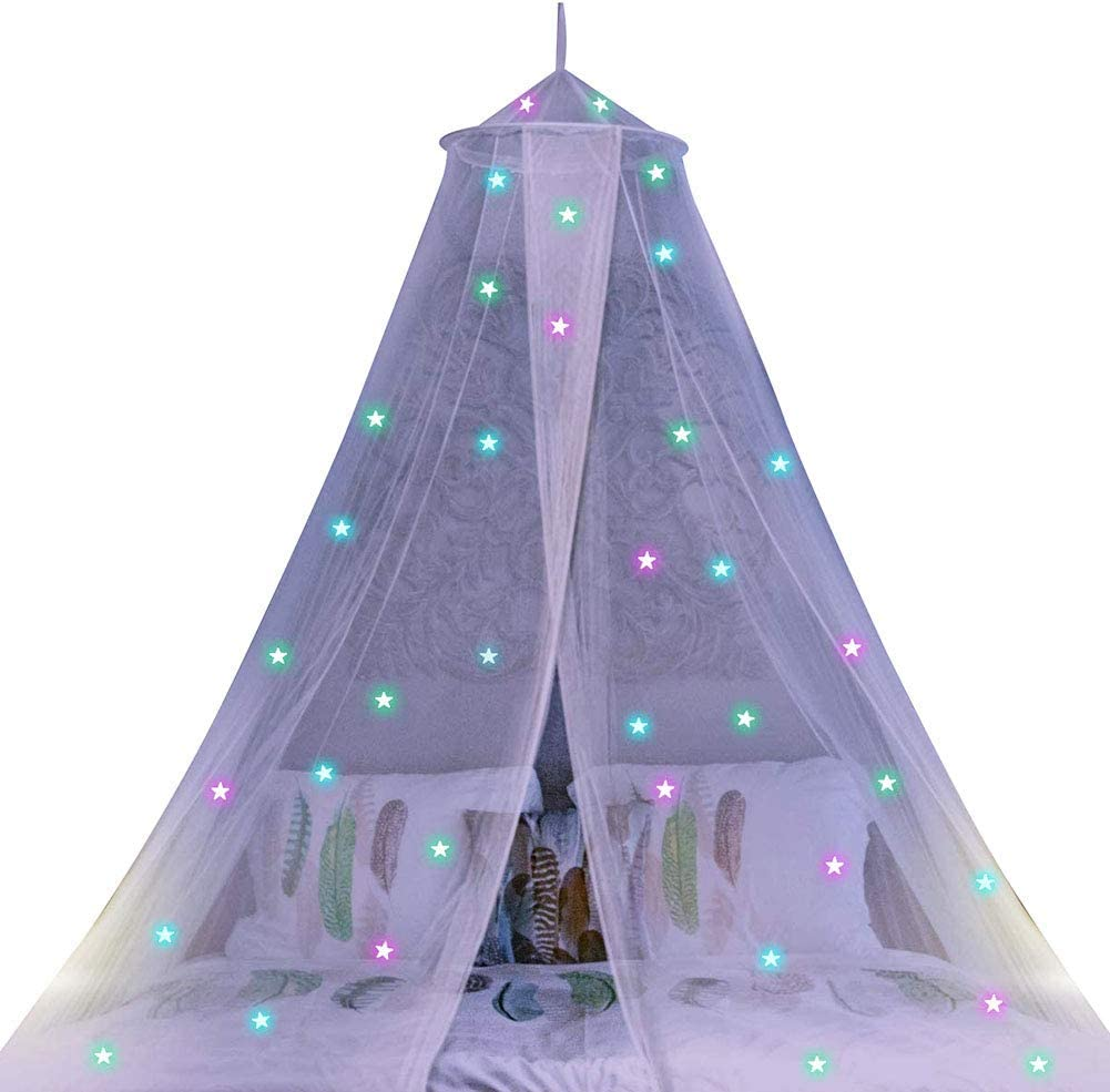 Bed Decoration White farawamu Mosquito Net Children Kids Canopy Hanging Dome Tent Bed Mosquito Net Glow in Dark Star Decor
