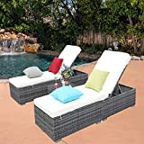 Cheap Do4U 3 Pcs Outdoor Chaise Lounge – Easy to Assemble – Thick & Comfy Cushion Wicker Lounge Chairs Include 1 Table and 2 Chaise Lounge- Dark Grey Rattan with Beige Cushion (Grey-8003)