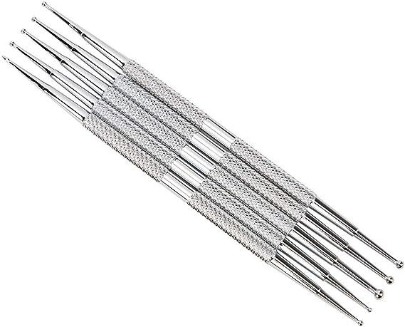 5-teiliges Indentation Pen Quality Stahlton-Modellier-Modellierwerkzeug-Kit Doppelend-Kugelstift-Punktierungswerkzeugsatz