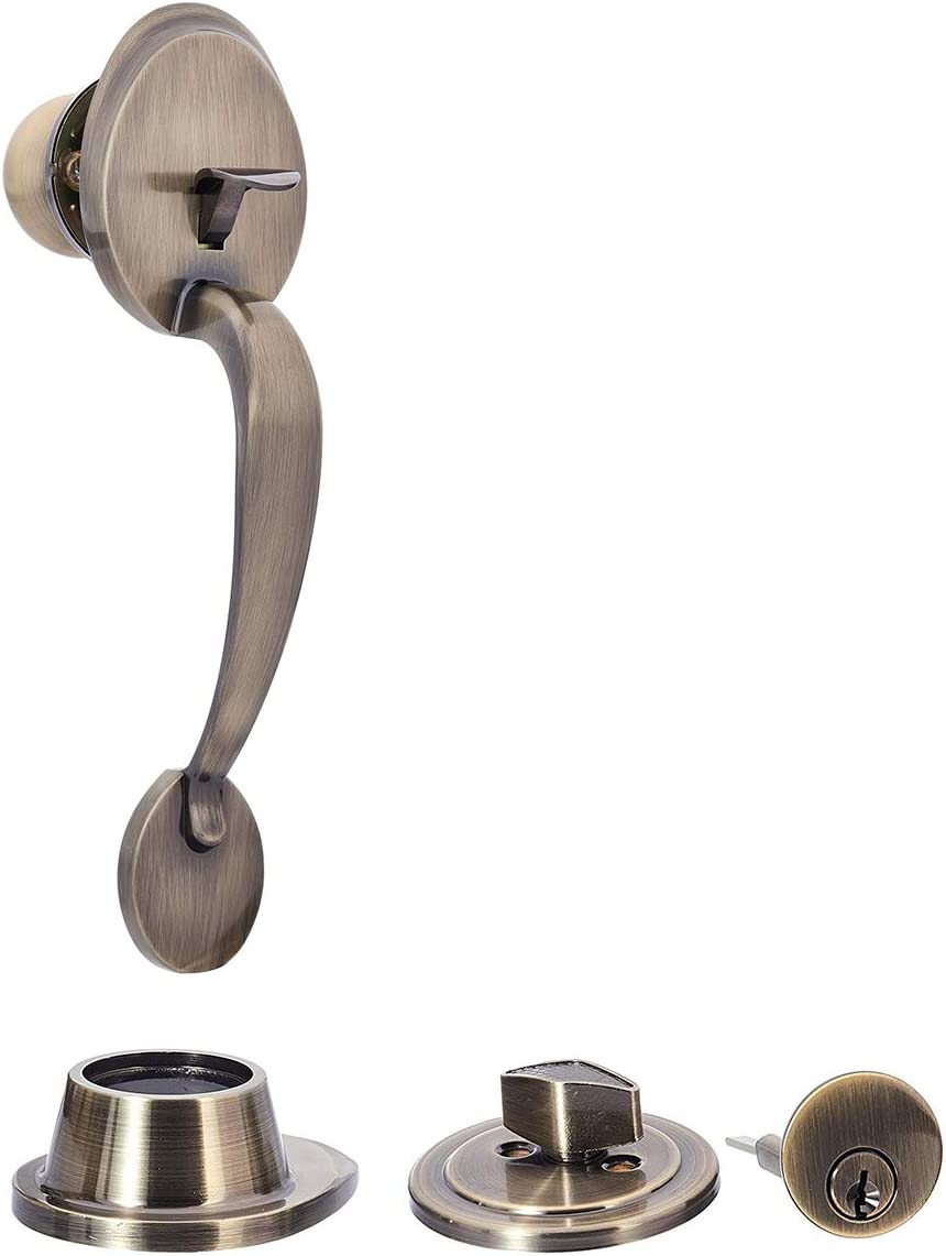 Amazon Basics Classic Exterior Handle Set With Door Knob And Deadbolt Antique Brass