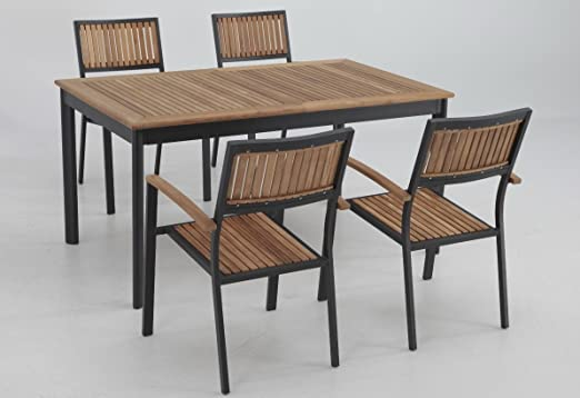 Conjunto terraza y jardin aluminio teka thule 4 sillas: Amazon.es ...