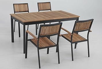 Conjunto terraza y jardin aluminio teka thule 4 sillas ...