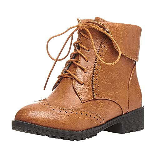 Logobeing Zapatos de Cuero con Punta Redonda para Mujer Botines Planos con Cordones Botas Altas Zapatos