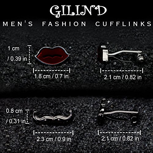 2 Pairs Mens Cufflinks Beard and Lips Unique Wedding Business Shirt Cuff Links Mix Design Set For Mens Jewelry With Gift Box By Gilind