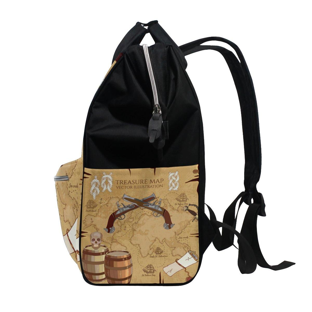 ALAZA World Map Sugar Skull Backpack Large Capacity Mummy Travel Nurse Bag
