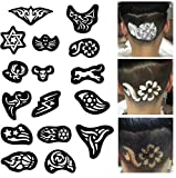 Lucktao 25pcs/set Hair Tattoo Template Hair Trimmer Carved Dye Coloring Tattoos Patterns Stencil DIY Salon Barber Tools