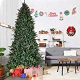 Goplus 8Ft Christmas Tree Artificial 2528 Tips Premium Hinged Spruce Full Tree with Pine Cones, Beries and Solid Metal Stand