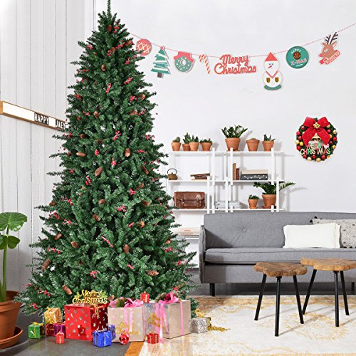Goplus 8Ft Christmas Tree Artificial 2528 Tips Premium Hinged Spruce Full Tree with Pine Cones, Beries and Solid Metal Stand for Outdoor & Indoor