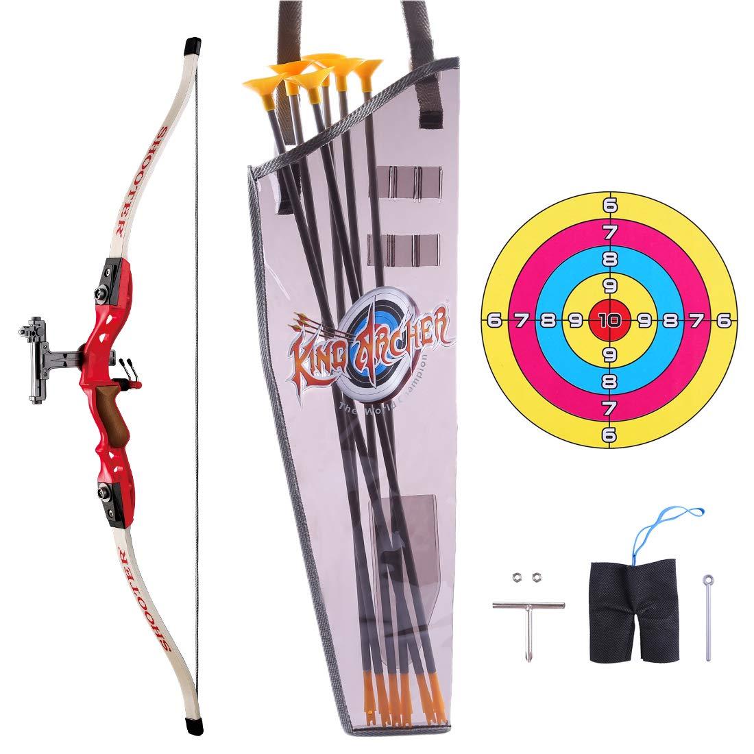 Outdoor Schie/ßspiele mit 6 Starken Saugnapfpfeilen Spielzeug f/ür drau/ßen ab 6 Jahre YxFlower Pfeil und Bogen Kinder Set