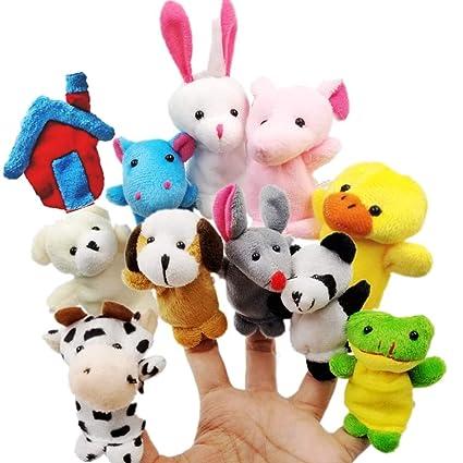 JZK 11 Marionetas Dedo Animales Dedos títeres Animal Juguetes pequeños Juguetes de Peluche para niños favores Partido Fiesta cumpleaños Rellenos ...