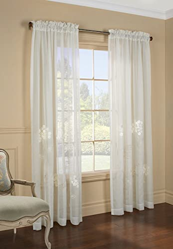 Commonwealth Hydrangea Semi Sheer Faux Linen Embroidered Curtain Panel, 54 W X 95 L, Cream