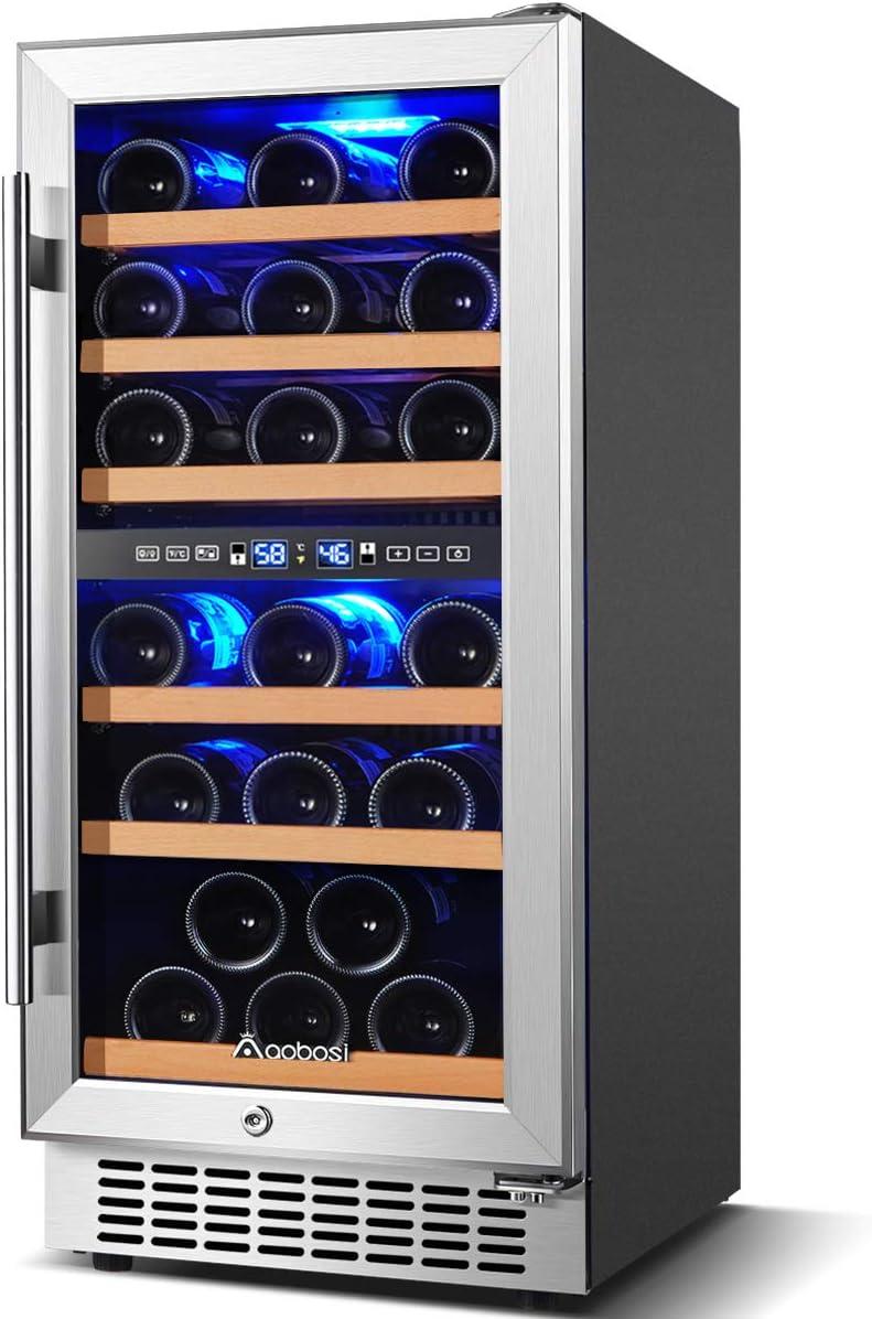 Aobosi 15 inch 30 Bottle Wine refrigerator Built-in or Freestanding