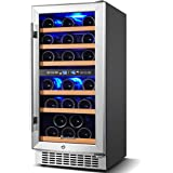 【Upgraded】Wine Cooler Dual Zone,Aobosi 15 inch 30 Bottle Wine refrigerator Built-in or Freestanding with Fashion Look…