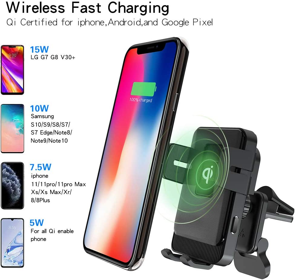 Wireless Car Charger Mount Dashboard Automatic Phone Clip Compatible with iPhone 11//11 Pro//Pro Max GUENMSO Auto Clamping Air Vent Phone Holder 15W Qi Fast Charging Samsung Note 10// S10// S9
