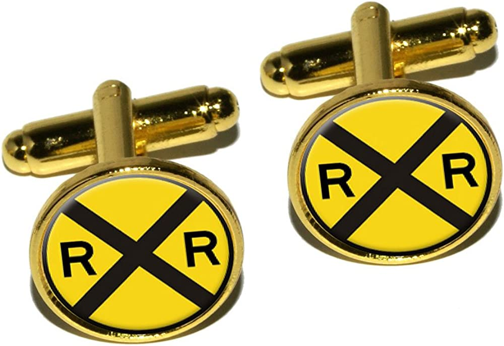 Graphics and More Railroad Crossing Traffic Sign - Train Round Cufflink Set - Gold