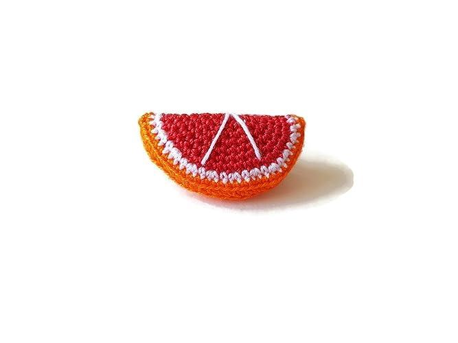 Rojo naranja broche fruta joyería comida hecha a mano crochet verano ...