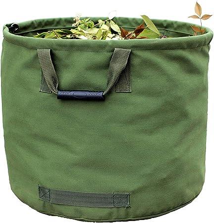 WHT Saco Plegable Jardin de 125L Resistentes con Asas, Bolsa de Jardin Verde con Tela Militar de Lona (H45.7 cm, D55.8 cm): Amazon.es: Hogar