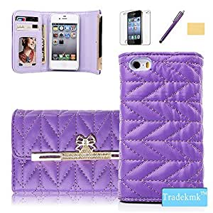 iPhone 4S Case ,iPhone 4 Case ,Tradekmk(TM)Superior Soft Grid Leather Wallet Gold Crystal Bowknot Pattern Slim Case Cover Fit For Apple iPhone 4 4S(Purple),with Cards Slots,Stylus Pen,Screen Protector and Cleaning Cloth