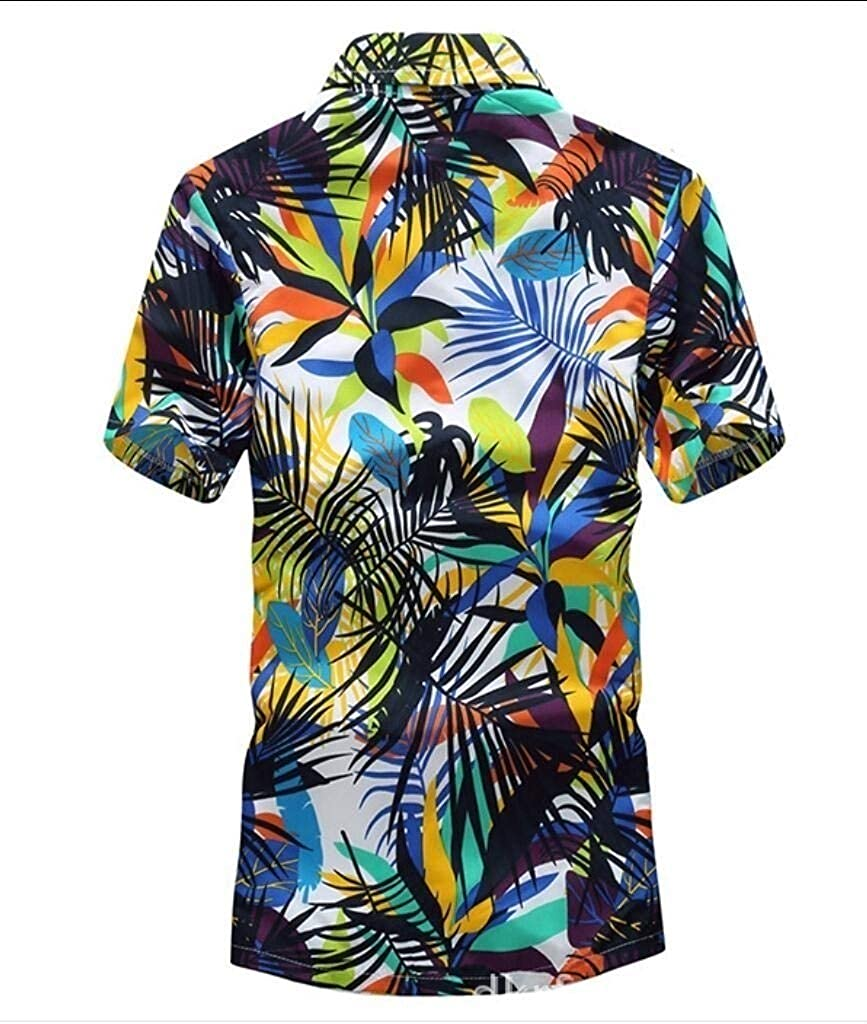 Vska Mens Printing Beach Relaxed Quick-Drying Lounge Short Sleeve Shirts