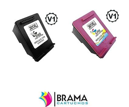 Bramacartuchos - 2X Cartuchos Reciclados Hp 301XL, 1 x Negro 1 x Color, Ultimo Version con nivel de tinta. CH563EE.(VALIDO NUEVAS IMPRESORAS) HP ...