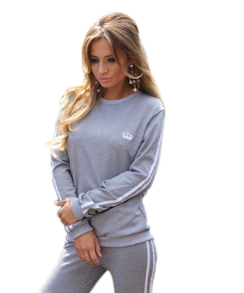 Akery Womens Sports Pullover Hoodie Tracksuit Sweat Pants Set 2 Pcs,Grey,(4-6 ) Asia M