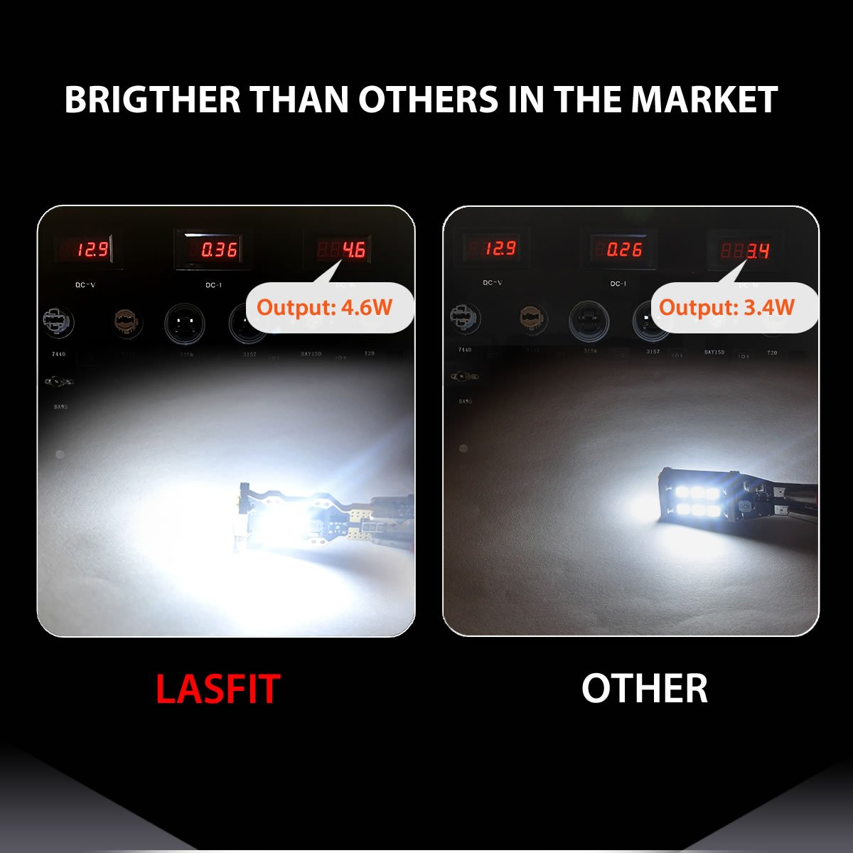 LASFIT 912 921 T15 906 W16W LED Light Bulb SMD 3030 Chipsets 1400 Lumens Extremely Bright for Car Interior Dome Trunk Reverse Backup Lights, Polarity Free, Xenon White(Pack of 2) by LASFIT (Image #3)
