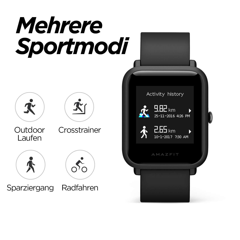 Reloj Inteligente Bip Lite 3ATM, Color Negro (Black), Smart Watch con 45 días de duración de la batería y Registro de espuelas Deportivas para ...