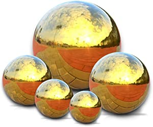 Nerien Gold Mirror Globe Stainless Steel Gazing Ball Polished Balls Reflective Smooth Garden Sphere Home Ornament Garden Decorations Set of 5