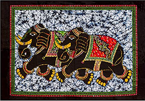 Fable9 Elephant Wall Tapestry | Indian Traditional Batik Home Decor Design | Rectangular Cotton Fabric Wall Hanging, Small Size 40 x 30 - Batik Wall Art