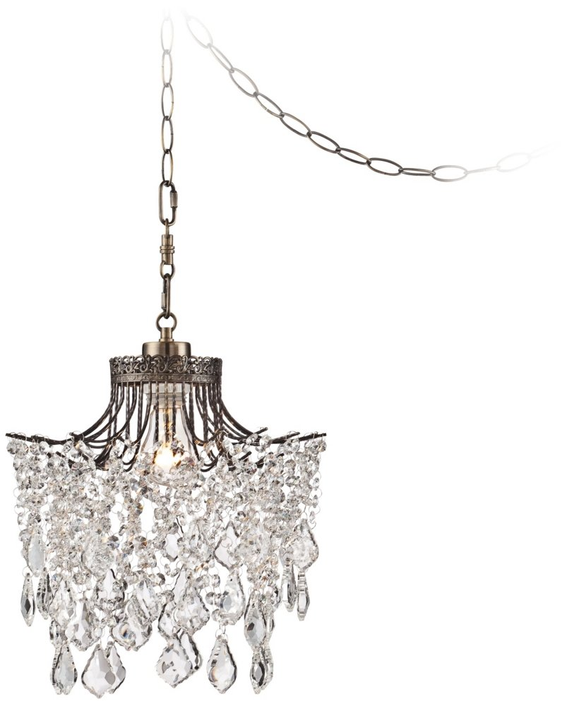 Brielle antique brass 12 wide crystal plug in swag pendant brielle antique brass 12 wide crystal plug in swag pendant ceiling pendant fixtures amazon aloadofball Image collections