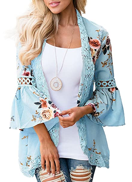 044324222a EachEver Women Floral Print Loose Puff Sleeve Kimono Cardigan Lace  Patchwork Cover Up Blouse Blue S