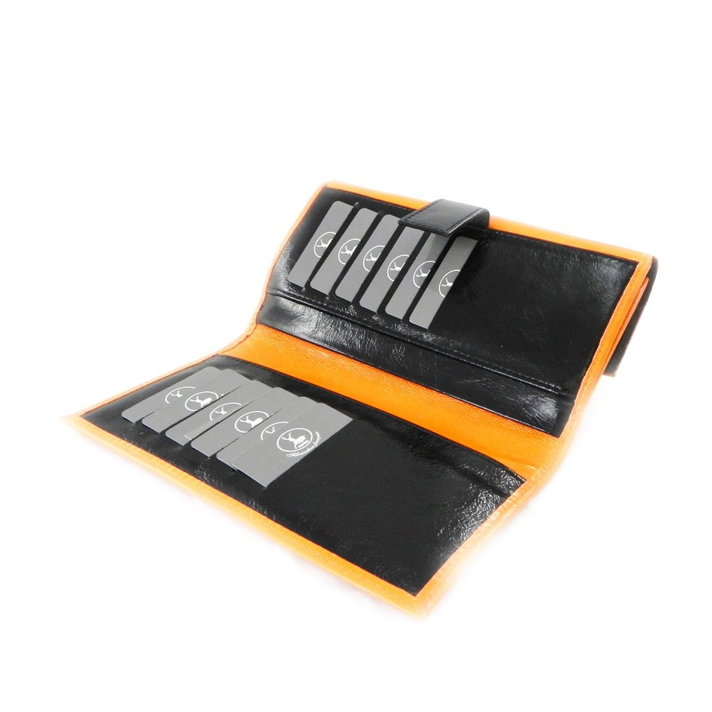 Wallet + checkbook holder leather ''Frandi'' orange black lacquer. by Les Tresors De Lily (Image #5)