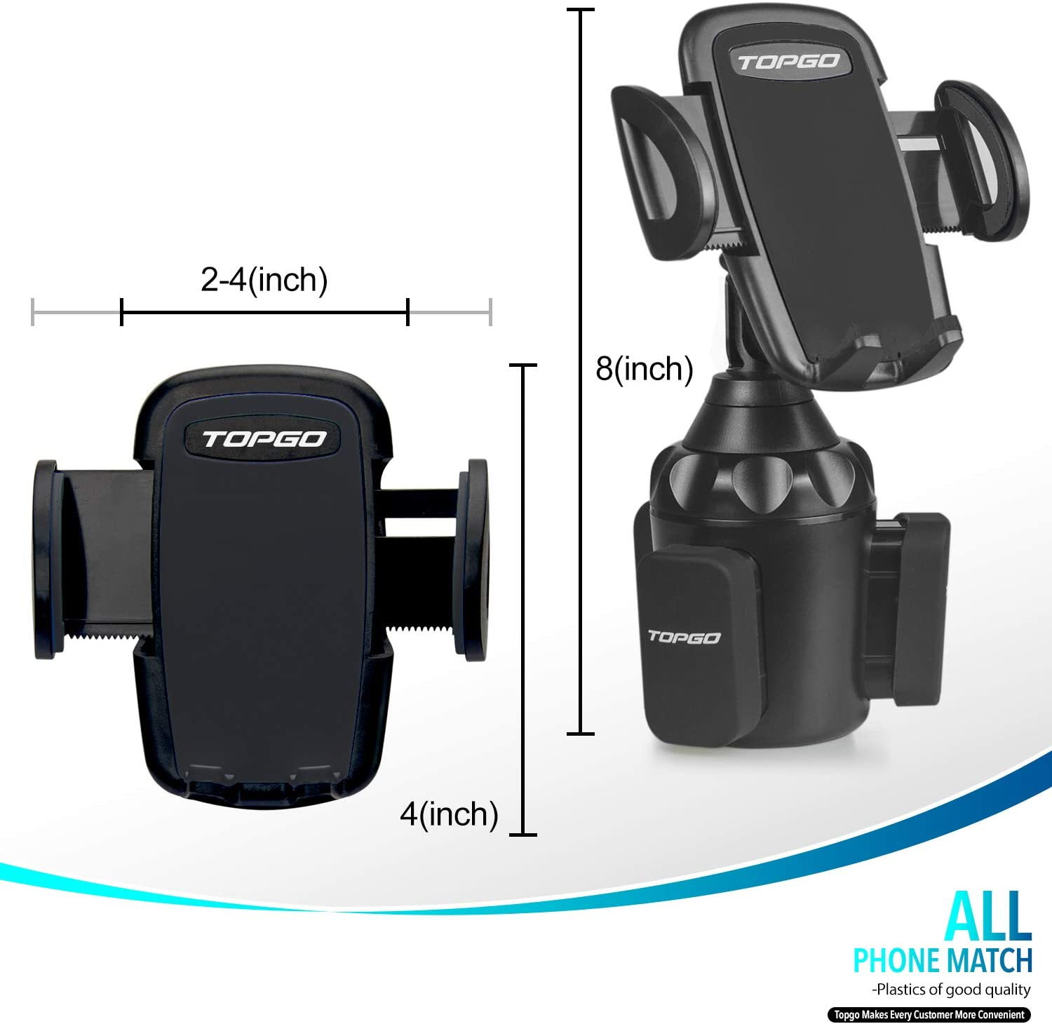 Black Upgraded Car Cup Holder Phone Mount Adjustable Automobile Cup Holder Smart Phone Cradle Car Mount for iPhone 11 Pro//XR//XS Max//X//8//7 Plus//6s//Samsung S10+//Note 9//S8 Plus//S7 Edge