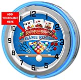 Game Room Personalized 18'' Blue Double Neon Clock from Redeye Laserworks