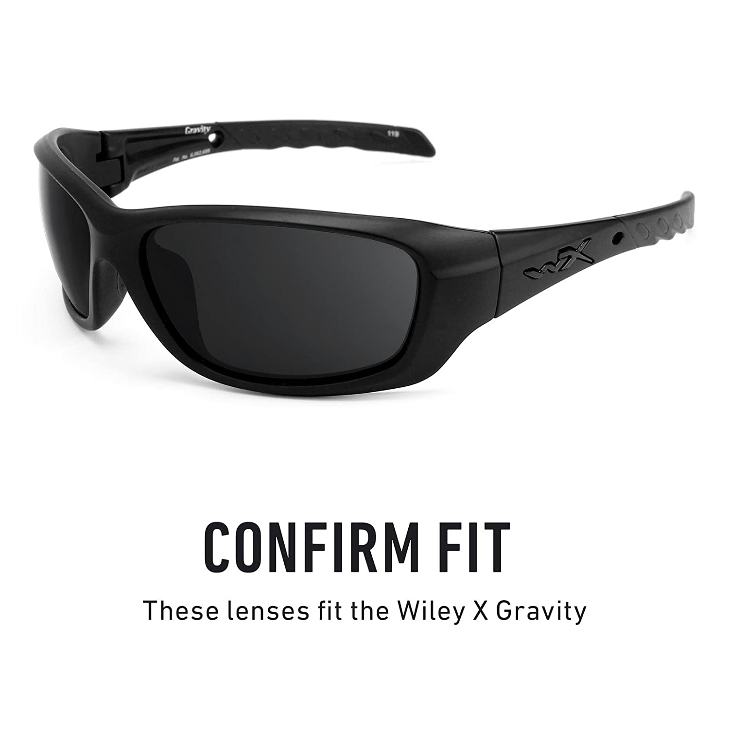 9380f3ff1ee Amazon.com  Revant Polarized Replacement Lenses for Wiley X Gravity Elite  Black Chrome MirrorShield  Sports   Outdoors