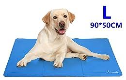 Pecute Kühlmatte Tiere Kühl-Hundedecke Kühlkissen Blau Liegematte Hundematte Kühldecke Perfekt für Fussboden Couch Betten Zwinger Auto (L(50*90cm))
