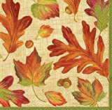 Cocktail Napkins Party Supplies Entertaining Fall Thanksgiving Holiday Party Linen Leaves Pk 60