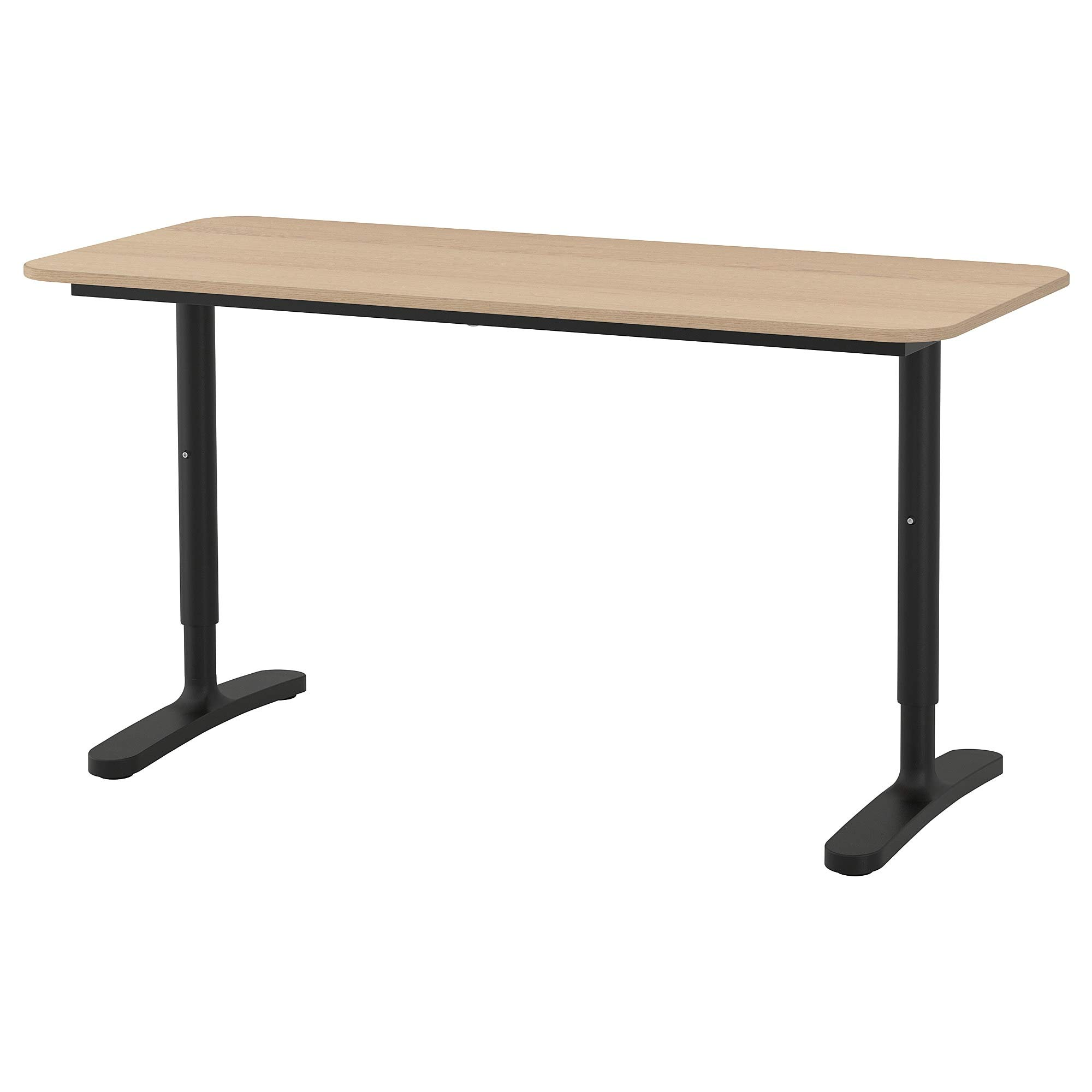 ikea BEKANT Desk, white stained oak veneer, black by IKEA