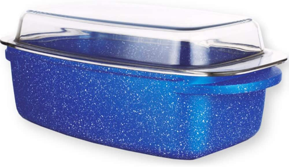 Gas and Induction FH2046 Rectangular Pan Lasagnero Baking Tray Exclusive Roasting Dish with Anti-Stick Coating in Blue Granite with Glass Lid with Handles Stone