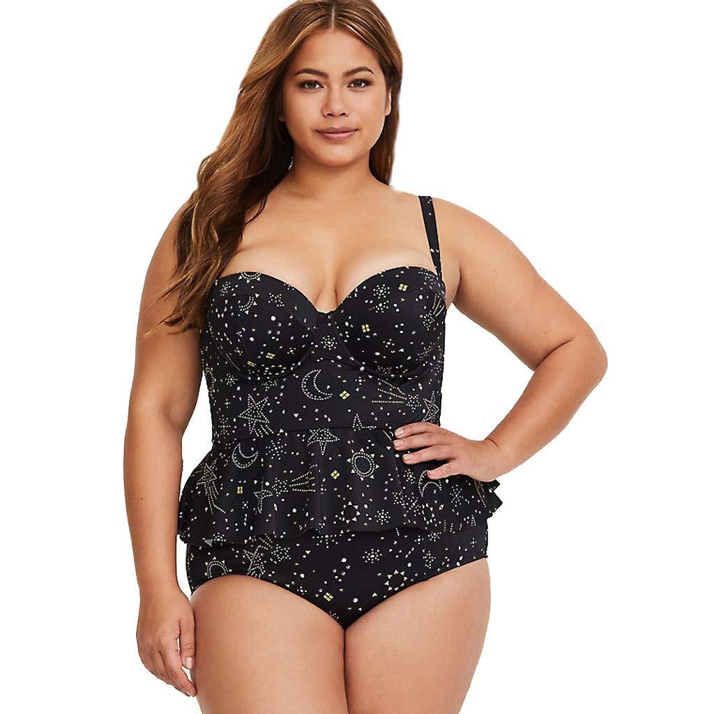 DMZing Plus Size Women's Bathing Beach Suit Bikini Monokini Tankini Swimwear Print Ruffles Sexy Lady Resort Hallmark Hot