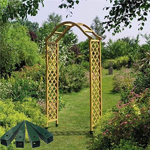 Gardman Elegant Wooden Garden Arch Pergola Tan Plant Support & Spikes
