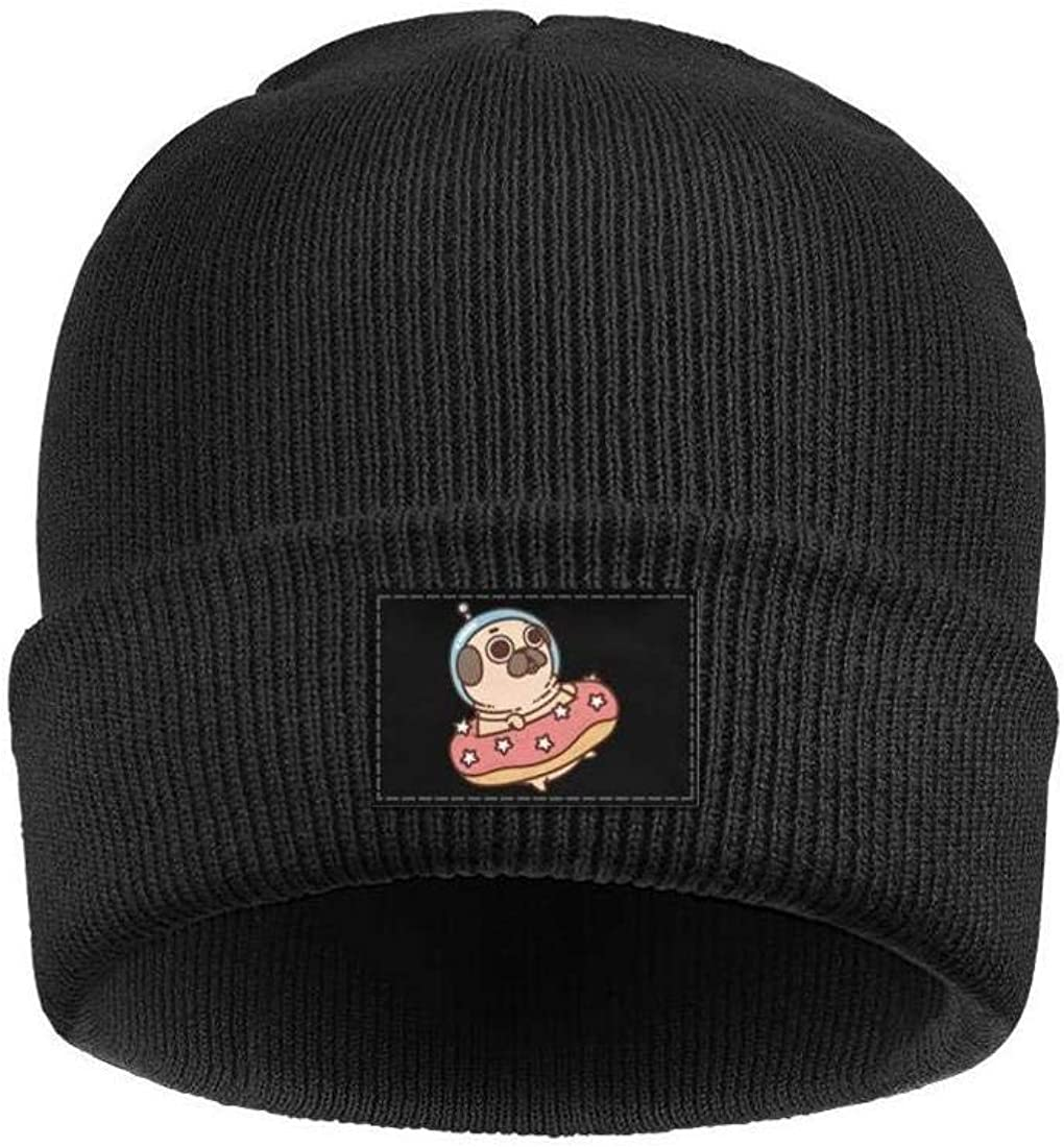 Space Pizza Cat Mens Womens Winter Beanies Knit Hat Stretch Skull Cap Black