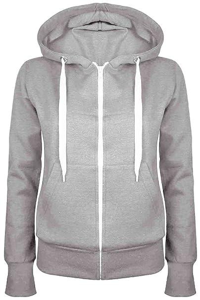 3946125ec Oops Outlet Ladies Plain Hoody Girls Zip Top Womens Hoodies Sweatshirt  Jacket Plus Size 6-