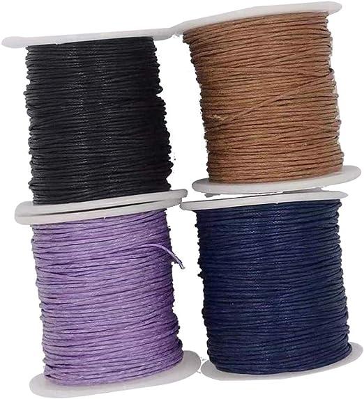 IPOTCH 4X Hilo Cordón de Algodón Encerado 1 mm Color Negro Café Púrpura Azul Oscuro: Amazon.es: Hogar